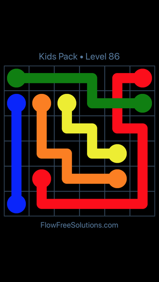 Solution and Answer to the Puzzle for Flow Free: Bridges Kids Pack Level 26