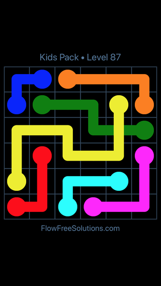 Solution and Answer to the Puzzle for Flow Free: Bridges Kids Pack Level 27