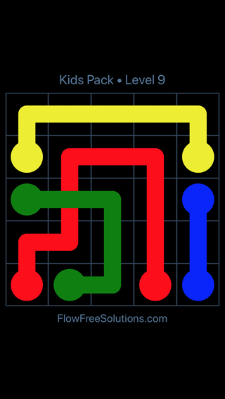Solution and Answer to the Puzzle for Flow Free: Bridges Kids Pack Level 9