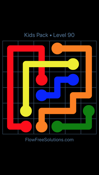 Solution and Answer to the Puzzle for Flow Free: Bridges Kids Pack Level 30