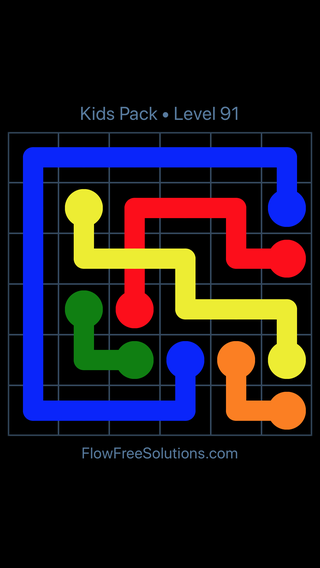 Solution and Answer to the Puzzle for Flow Free: Bridges Kids Pack Level 31