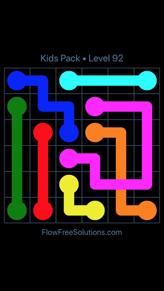Solution and Answer to the Puzzle for Flow Free: Bridges Kids Pack Level 32