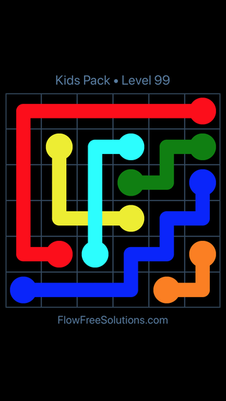 Solution and Answer to the Puzzle for Flow Free: Bridges Kids Pack Level 39