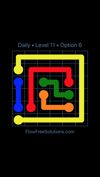 Solution and Answer to the Puzzle for Flow Date Monday, January 8, 2018 Level 11