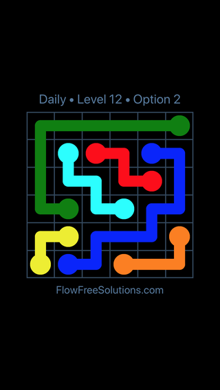 Solution and Answer to the Puzzle for Flow Date Monday, January 8, 2018 Level 12