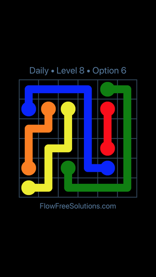 Solution and Answer to the Puzzle for Flow Date Monday, January 8, 2018 Level 8