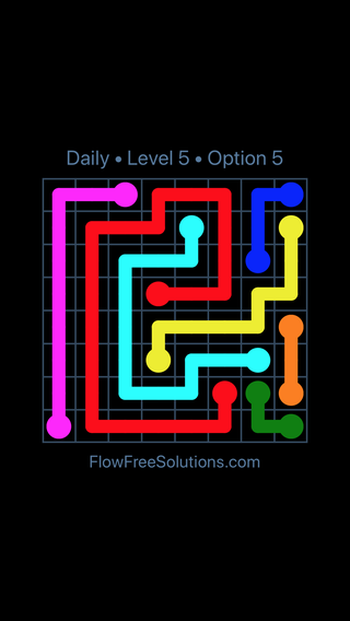 Solution and Answer to the Puzzle for Flow Date Saturday, April 14, 2018 Level 5