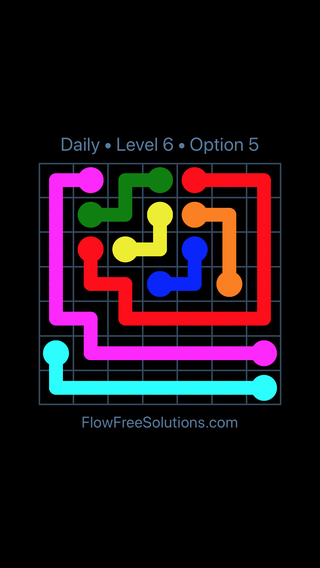 Solution and Answer to the Puzzle for Flow Date Monday, July 9, 2018 Level 6