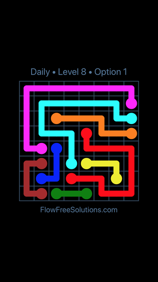 Solution and Answer to the Puzzle for Flow Date Wednesday, July 11, 2018 Level 8