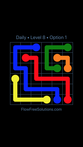 Solution and Answer to the Puzzle for Flow Date Friday, July 13, 2018 Level 8