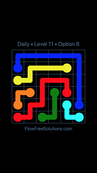Solution and Answer to the Puzzle for Flow Date Wednesday, September 11, 2019 Level 11