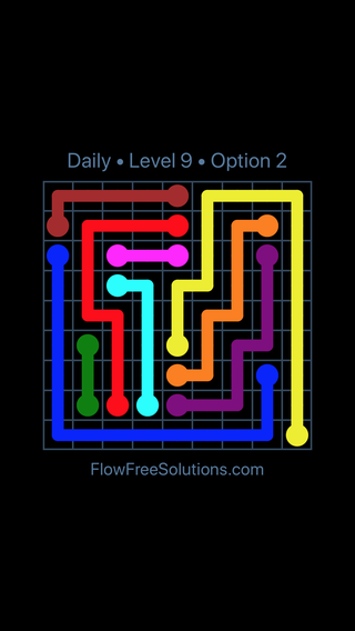 Solution and Answer to the Puzzle for Flow Date Saturday, November 11, 2017 Level 9