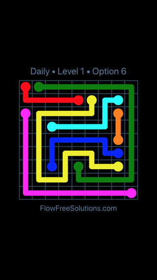 Solution and Answer to the Puzzle for Flow Date Thursday, January 11, 2018 Level 1