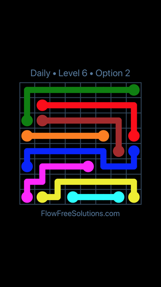 Solution and Answer to the Puzzle for Flow Date Friday, May 11, 2018 Level 6