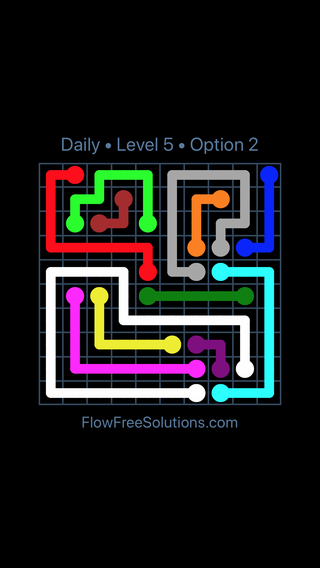 Solution and Answer to the Puzzle for Flow Date Saturday, May 12, 2018 Level 5