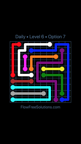 Solution and Answer to the Puzzle for Flow Date Sunday, August 5, 2018 Level 6