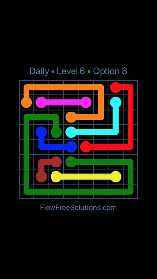 Solution and Answer to the Puzzle for Flow Date Wednesday, May 16, 2018 Level 6