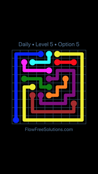 Solution and Answer to the Puzzle for Flow Date Thursday, August 9, 2018 Level 5