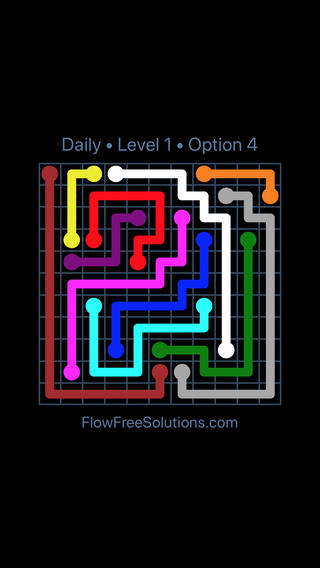 Solution and Answer to the Puzzle for Flow Date Saturday, January 13, 2018 Level 1