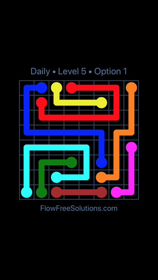 Solution and Answer to the Puzzle for Flow Date Wednesday, February 13, 2019 Level 5