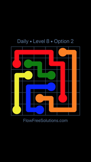 Solution and Answer to the Puzzle for Flow Date Tuesday, August 13, 2019 Level 8