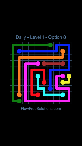 Solution and Answer to the Puzzle for Flow Date Saturday, September 15, 2018 Level 1