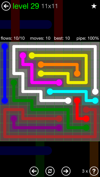 Solution and Answer to the Puzzle for Flow 11mania Pack Set 11x11 Level 29