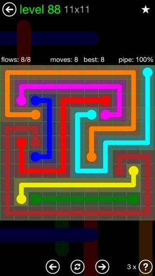 Solution and Answer to the Puzzle for Flow 11mania Pack Set 11x11 Level 88