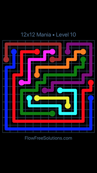 Solution and Answer to the Puzzle for Flow Free 12x12 Mania Level 10
