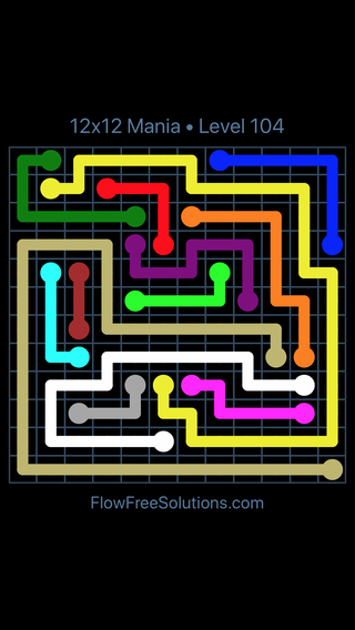 Solution and Answer to the Puzzle for Flow Free 12x12 Mania Level 104