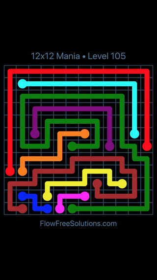 Solution and Answer to the Puzzle for Flow Free 12x12 Mania Level 105
