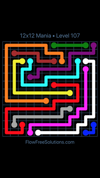 Solution and Answer to the Puzzle for Flow Free 12x12 Mania Level 107