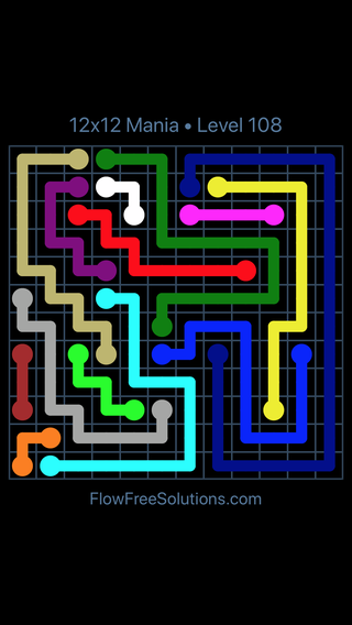 Solution and Answer to the Puzzle for Flow Free 12x12 Mania Level 108