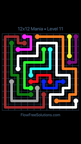 Solution and Answer to the Puzzle for Flow Free 12x12 Mania Level 11