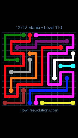 Solution and Answer to the Puzzle for Flow Free 12x12 Mania Level 110