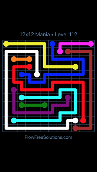 Solution and Answer to the Puzzle for Flow Free 12x12 Mania Level 112
