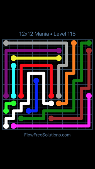 Solution and Answer to the Puzzle for Flow Free 12x12 Mania Level 115