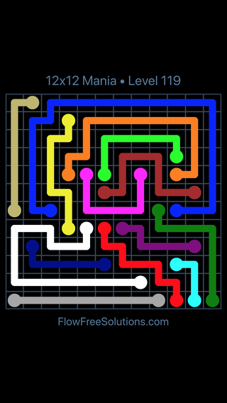 Solution and Answer to the Puzzle for Flow Free 12x12 Mania Level 119