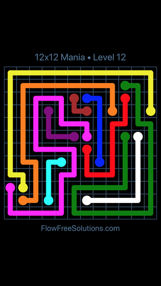 Solution and Answer to the Puzzle for Flow Free 12x12 Mania Level 12