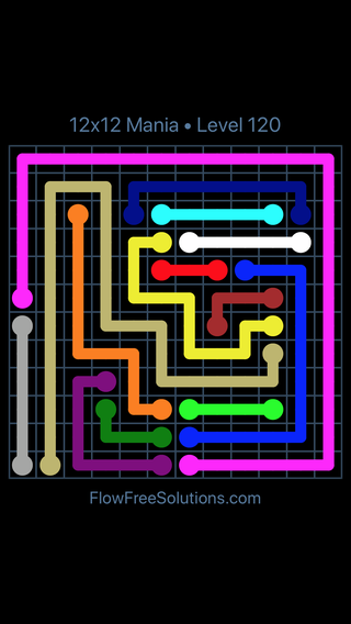 Solution and Answer to the Puzzle for Flow Free 12x12 Mania Level 120