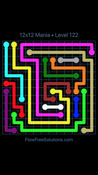 Solution and Answer to the Puzzle for Flow Free 12x12 Mania Level 122