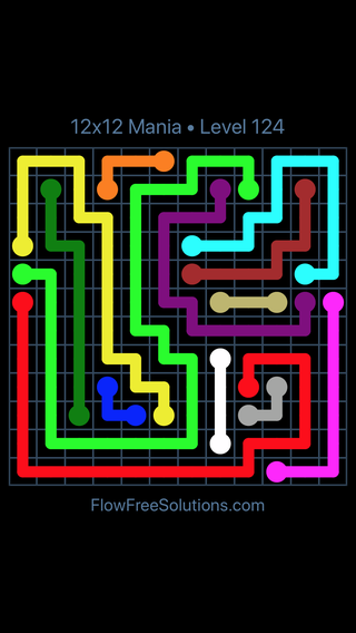 Solution and Answer to the Puzzle for Flow Free 12x12 Mania Level 124