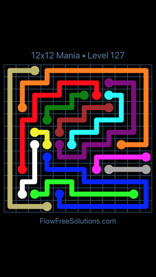 Solution and Answer to the Puzzle for Flow Free 12x12 Mania Level 127