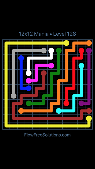 Solution and Answer to the Puzzle for Flow Free 12x12 Mania Level 128