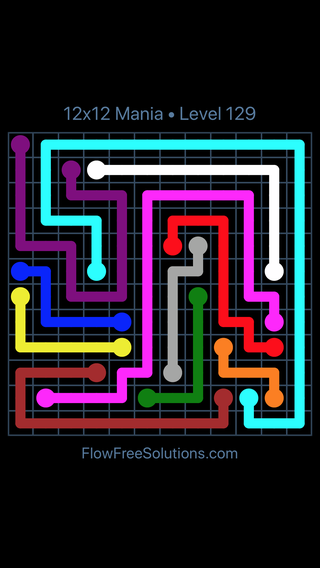 Solution and Answer to the Puzzle for Flow Free 12x12 Mania Level 129