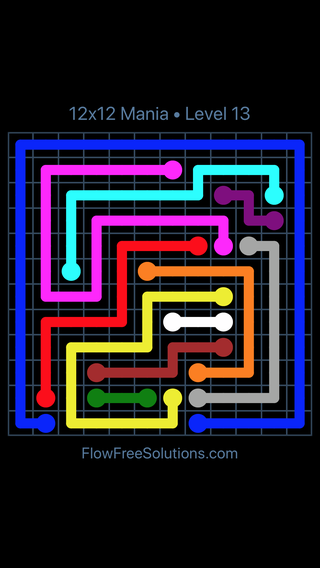 Solution and Answer to the Puzzle for Flow Free 12x12 Mania Level 13