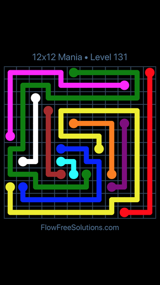 Solution and Answer to the Puzzle for Flow Free 12x12 Mania Level 131
