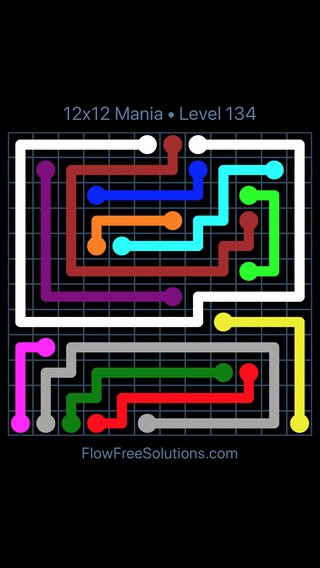 Solution and Answer to the Puzzle for Flow Free 12x12 Mania Level 134