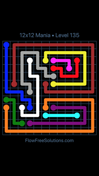 Solution and Answer to the Puzzle for Flow Free 12x12 Mania Level 135