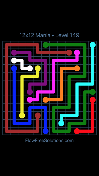 Solution and Answer to the Puzzle for Flow Free 12x12 Mania Level 149